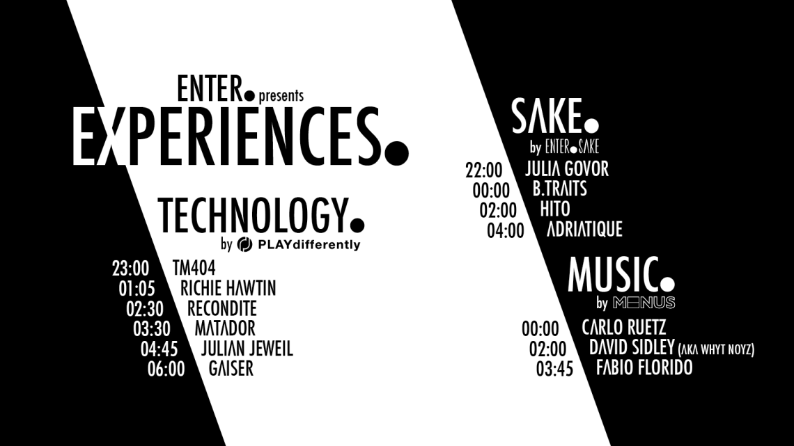 ENTER presents Experiences - Set Times - Website Graphic 1600x900px